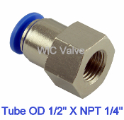 WIC Valve PFC Series Female Connector Quick Release Tube Fitting