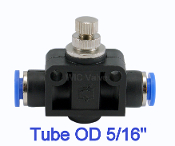 Inline Air Flow Speed Control Valve Push In Fitting