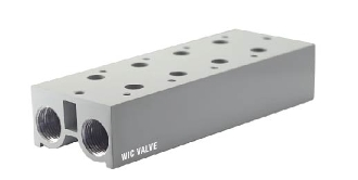 WIC Valve M3V Series Pneumatic 3 Way Electric Air Solenoid Valve Base Mounted Manifold Block 4 Stations