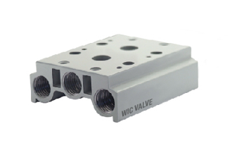 WIC Valve M4V Series Pneumatic 4 Way Air Solenoid Valve 2 Stations Base Mounted Manifold Block